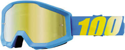 100 100 Motocross Offroad Strata MX Goggles Blue With Mirror Gold 50410-012-02