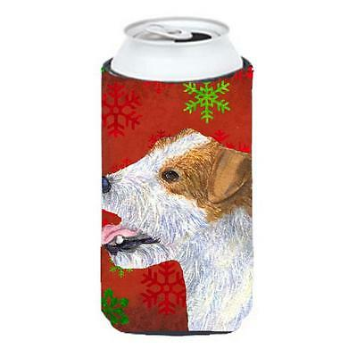 Jack Russell Terrier Red Green Snowflakes Holiday Christmas Tall Boy bottle s...