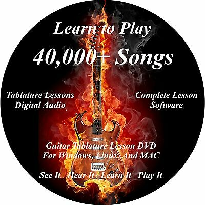 Guitar Tablature Lesson Software CD 40000+ Songs All Genres Windows,Linux,MAC