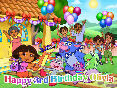 Dora EXPLORER & Diego Edible ICING Image Birthday CAKE Topper Decoration