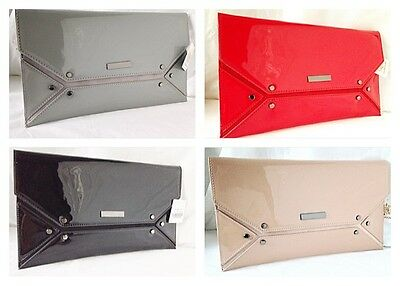 New Nude Beige Red Blue Grey Faux Patent Leather & Suede Evening Day Clutch Bag