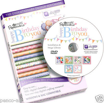 Docrafts digital designer disc CD Rom DVD Happy Birthday to You Use on PC & Mac