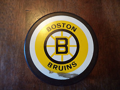 Vintage Boston Bruins Official NHL Game Used Hockey Puck By Trench