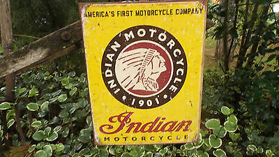 Vintage Signs Indian Motorcycle Collectible Tin Metal Advertising Sign Rustic