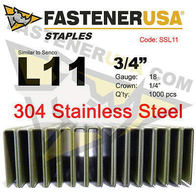 "L Staples L11 Stainless Steel 18 gauge 1/4"" crown - 3/4"" length (1000 ct)"