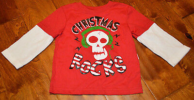 Baby Boy's Christmas Rocks Red Long Sleeve Two-Tone Top Size 12-18 Months