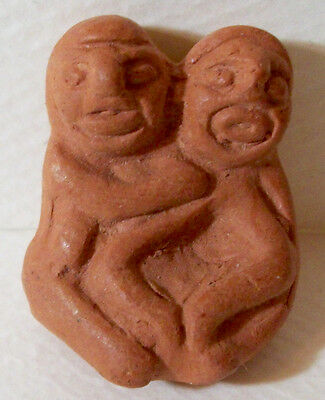 "Miniatre 1"" Terra Cotta Pre-Columbian Repro Aztec Style Sculpture Hugging Couple"