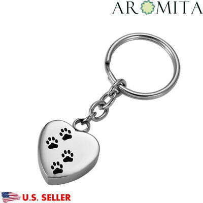 VALYRIA Dog Paw Heart Cremation Jewelry Key Chain Keepsake Memorial Pet Ash Urn