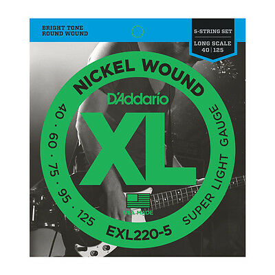 D'Addario XL Nickel Plated Bass String Set 5-String Long Scale 40-125 EXL220-5