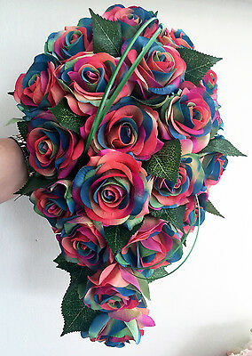 Vibrant Rainbow Real Touch  Roses Teardrop Wedding Bridal Bouquet