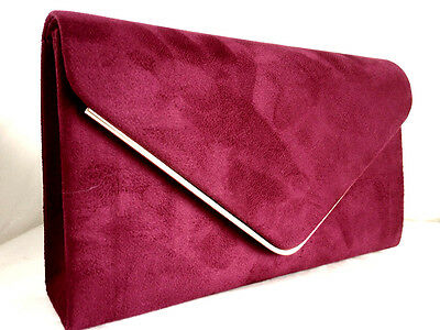 New Burgundy Red Faux Suede Evening Day Clutch Bag Wedding Club Party Prom Xmas