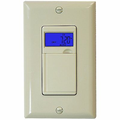 7-Day Programmable Digital In-Wall Timer Outlet Light Switch Fans Lights Motors