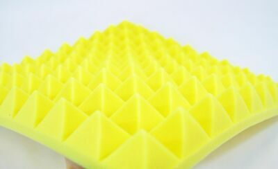 4 Yellow Pyramid Foam 50mm Sound Proofing Insulation Recording Studio Booth Room