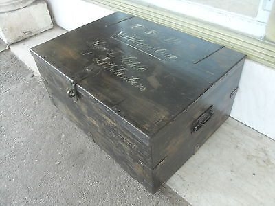 WWI Military Officer's Trunk ' Major D Sapte 4th Fifth Fusiliers '  Hand Painted