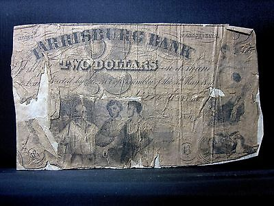 1851 $2 Obsolete Bank-Note ✪ Harrisburg Bank ✪ Pa Pennsylvania ◢Trusted◣