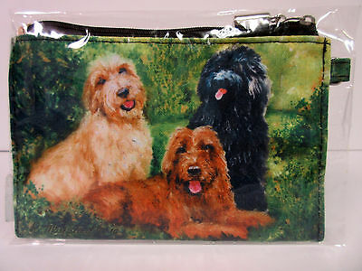 New Labradoodle Dog Zippered Handy Pouch Make-up/Coin Purse 3 Dogs by Ruth