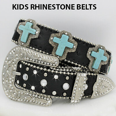 363-LARGE Girls Western Rhinestone Childrens Western Kids Bling Bling Belts