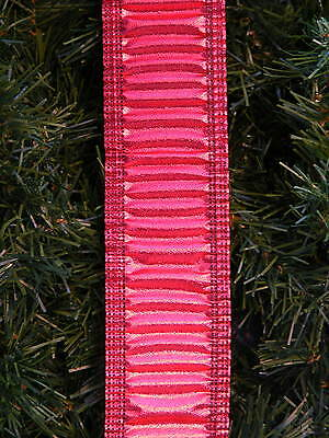 "Vintage Red Ruffled Dbl-Wired 2"" 25Ft Ribbon Garland"