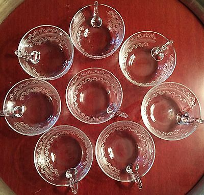 Set Of 8 Delicate Antique Crystal Cups