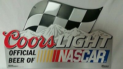 Coors Light New 20x13 Metal Nascar Racing Beer Man Cave Sign With Wall Mount Tab