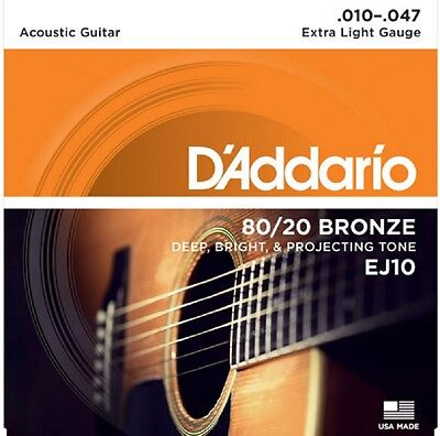 D'Addario EJ10 80/20 Bronze Acoustic Guitar Strings Extra Light 10-47