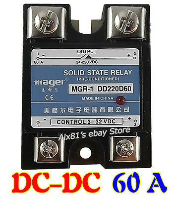 DC-DC 60A Solid State Relay Single-phase SSR 24-220V DC Control 3-32V DC
