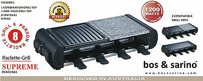 BOS & SARINO Raclette Grill Teppanyaki Mini BBQ Portable Barbeque Stone 8 Person