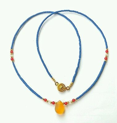 Afghan Natural Lapis Lazuli Tiny Seed Beads Necklace with Roman Glass Pendant