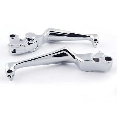 Chrome Aluminium Skull Brake And Clutch Lever Pair Harley Davidson Motorcycle