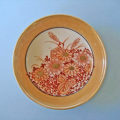 PIN DISH VINTAGE JAPAN PEACH LUSTRE WARE Miniature Plate Hand Painted Floral