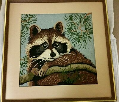 Vintage framed knitted raccoon art 1970s