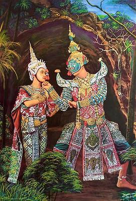 "Thai Drawings POSTER 23""x34"" Ramayana Khon Ravana Sita Ancient Painting Siam"