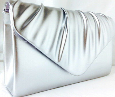 New Silver Faux Patent Leather Evening Day Clutch Bag Xmas Wedding Club Party