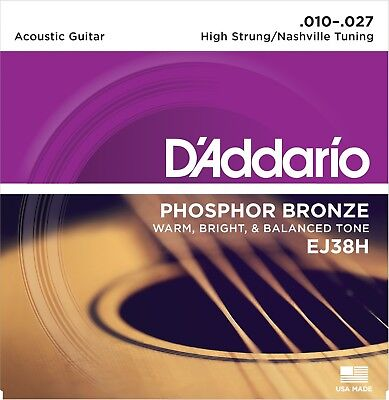 D'Addario EJ38H Phosphor Bronze Acoustic Guitar Strings Nashville Tuning 10-27
