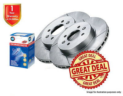 2 FORD Falcon AU II, AU III SLOTTED FRONT Disc Rotors with Brake Pads