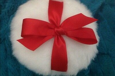 soft body or glitter powder puff, 8 inches, with  red bow