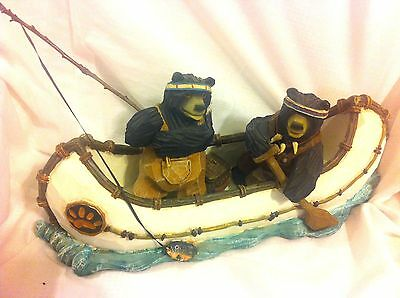 Bears Fishing and paddeling In Canoe Figurine  Cabin & Home Decor
