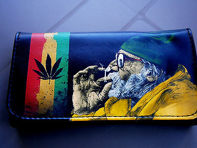 Old Man Marijuanna Smoking Rolling Tobacco Pouch Case Cigarette Wallet Jamaica