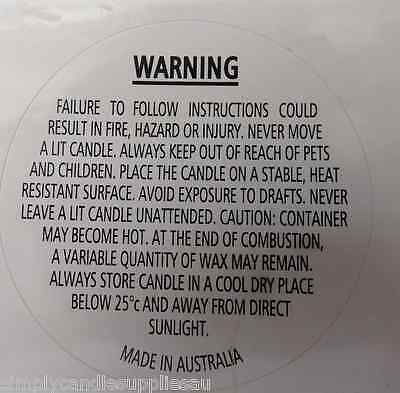 Warning Labels Gloss 40mm suitable for soy wax, parrafin wax and bees wax etc