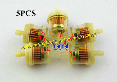 """5x High Quality Inline 1/4"""" Fuel Gas Filter Universal For Scooter Motorcycle ATV"""