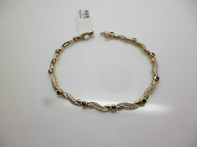 9ct yellow gold fancy twist link sapphire and diamond bracelet with hallmark