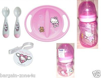 Hello Kitty Baby Kids Cutlery Spoon Plate Bottle & Soother Holder Set
