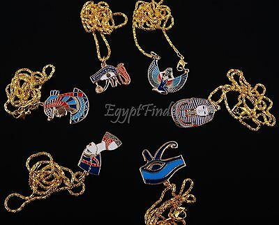Lot Of 6 Egyptian Brass Tut Eye Of horus Nefertiti Isis Cleopatra Necklaces Sale