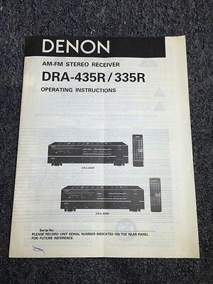 Denon DRA-435R 335R Stereo Receiver Original Owners Manual 10 Pages