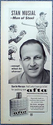 1963 Afta After Shave Stan Musial St Louis Cardinals Baseball Man Of Steel ad