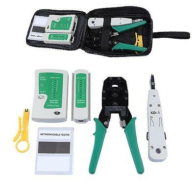 RJ11 RJ45 Cat5e Cat6e Cable Crimping Crimper Tester Punch Down Tool Kit Network
