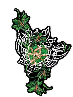 Celtic Heart Flowers Green Gold Embroidered Biker Patch Iron or Sew HLPM4836