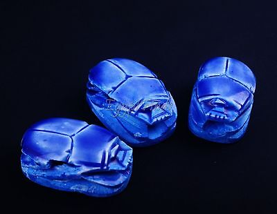 3 Lrg Egyptian Hand Made Blue Faience Scarabs Beetles With Hieroglyphics