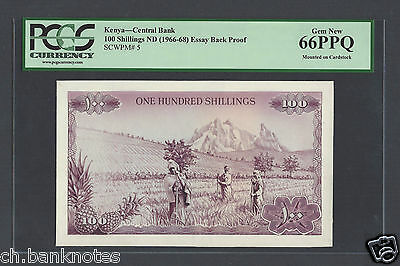 Kenya 100 Shillings ND( ca.1960) Essay Back Proof Uncirculated