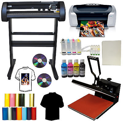 "15x15"" Heat Press,500g Metal Vinyl Cutter Plotter,Printer+CISS+Ink Tshirt Bundle"